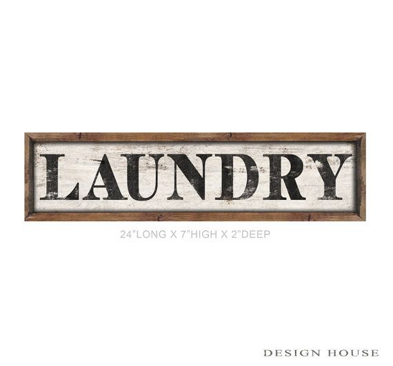 Wooden laundry sign framed out in wood by DesignHouseDecor on Etsy