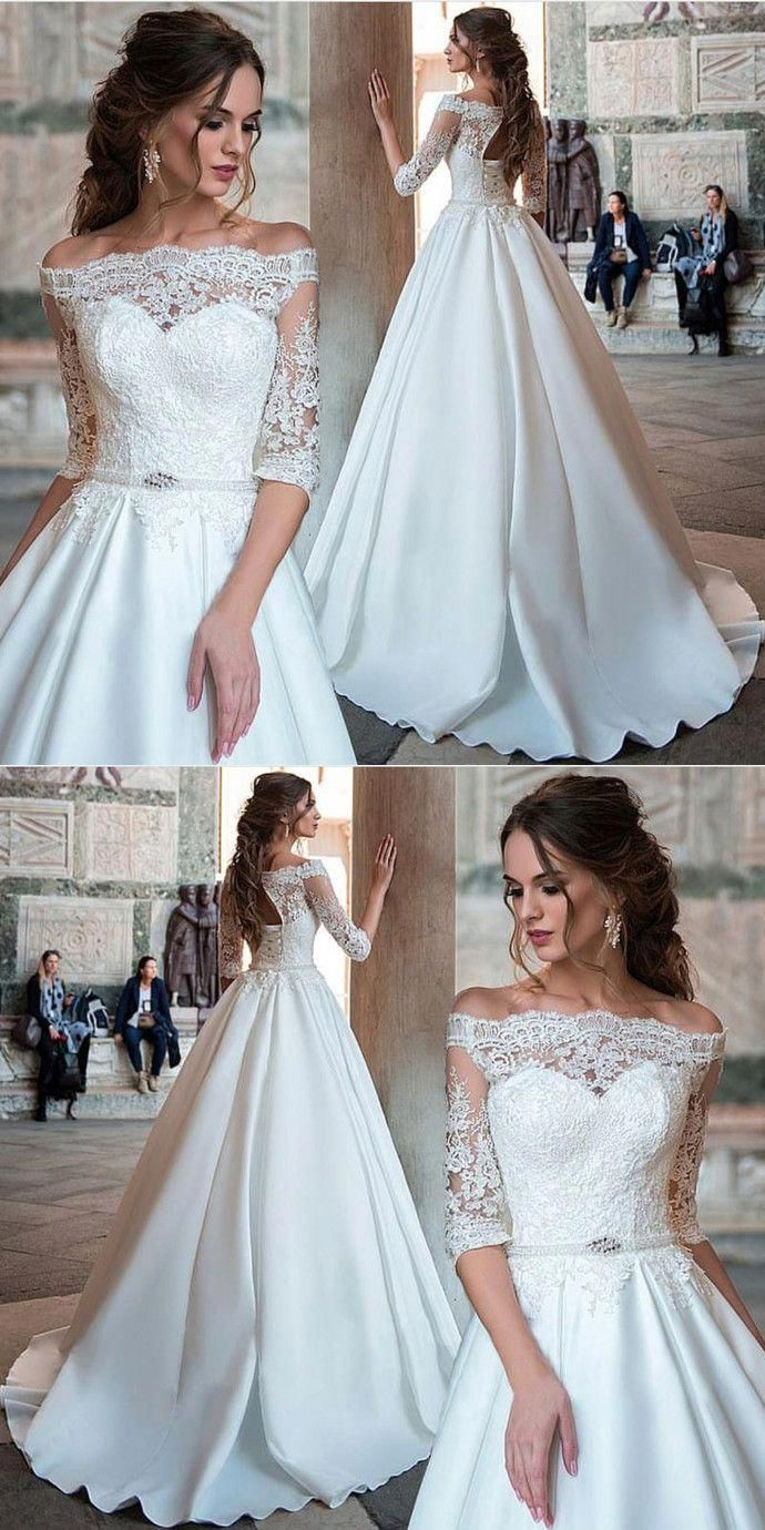 a5cbb4dd779 Elegant Ball Gown Half Sleeve White Lace Satin Off Shoulder Wedding Dress  with Applique  weddinggown