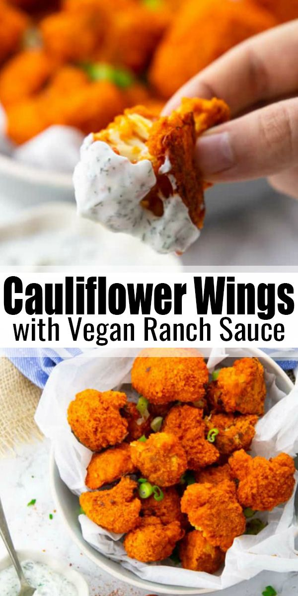 These cauliflower buffalo wings with vegan ranch dip are the perfect comfort food! They're super easy to make and they're soo… in 2020 | Vegan comfort food, Vegan ranch, Vegan recipes