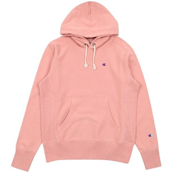 Champion Reverse Weave Chest Logo Pullover Hoody Sweatshirt Pink ($115) ❤ liked on Polyvore featuring tops, hoodies, pullover hoodie, hooded pullover sweatshirt, hooded sweatshirt, pink hooded sweatshirt and sweater pullover