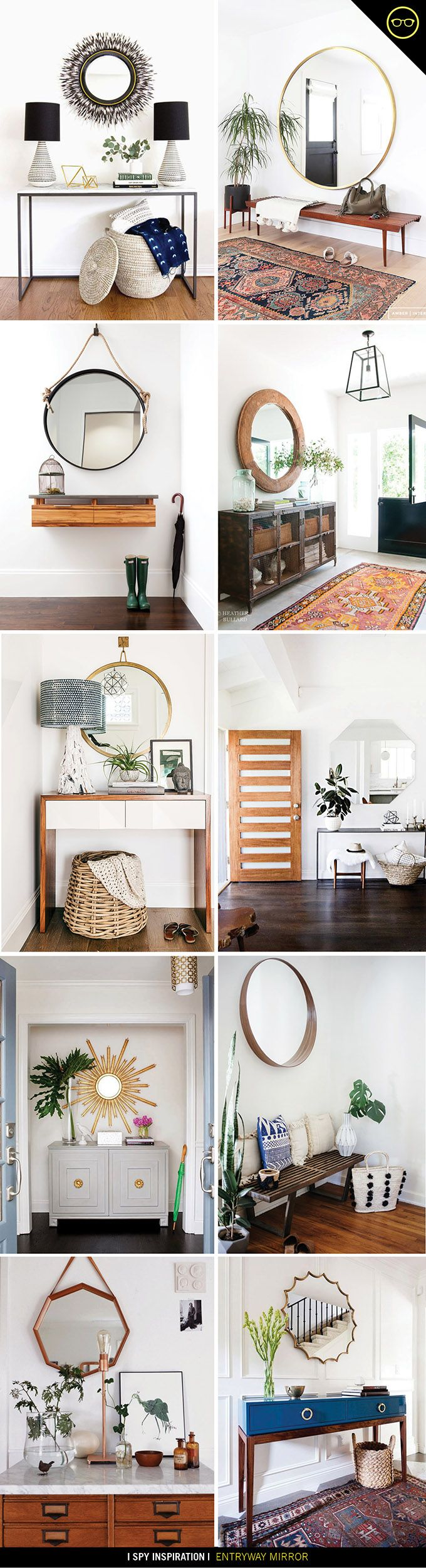 Circular mirrors in entryways and hallways