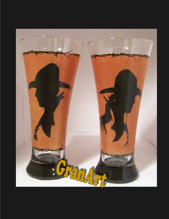 Cowboy Up Pilsner Glass Hand Painted Pilsner Beer Glass by GranArt