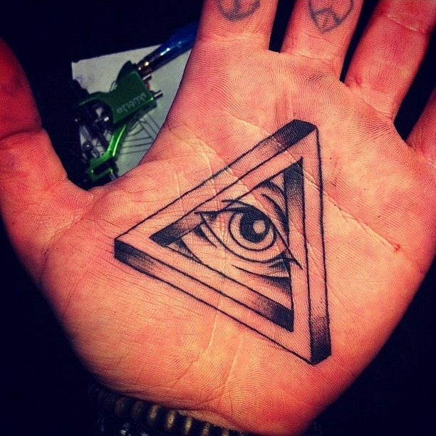 Eye Tattoo on Palm of Hand All Seeing Eye Tattoo on Hand