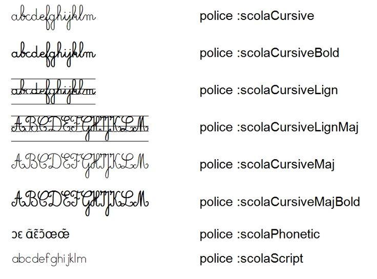 Un jeu de 8 polices cursives et script, majuscules et minuscules, avec et sans lignes ou encore phonétique.