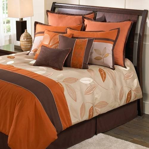 Hallmart Collectibles Garwood Queen 9 Piece Bed In A Bag by hallmart Collectibles. $229.99. An elegant and modern bed set in beige, chocolate brown and tangerine orange, the Hallmart Garwood bedding ensemble will transform your bedroom into a stylish and nature inspired retreat. Available in Queen and King sizes, the Hallmart Garwood comforter features a lustrous leaf pattern in beige, tangerine orange and chocolate brown on a beige ground flanked by a chocolate brown hori...