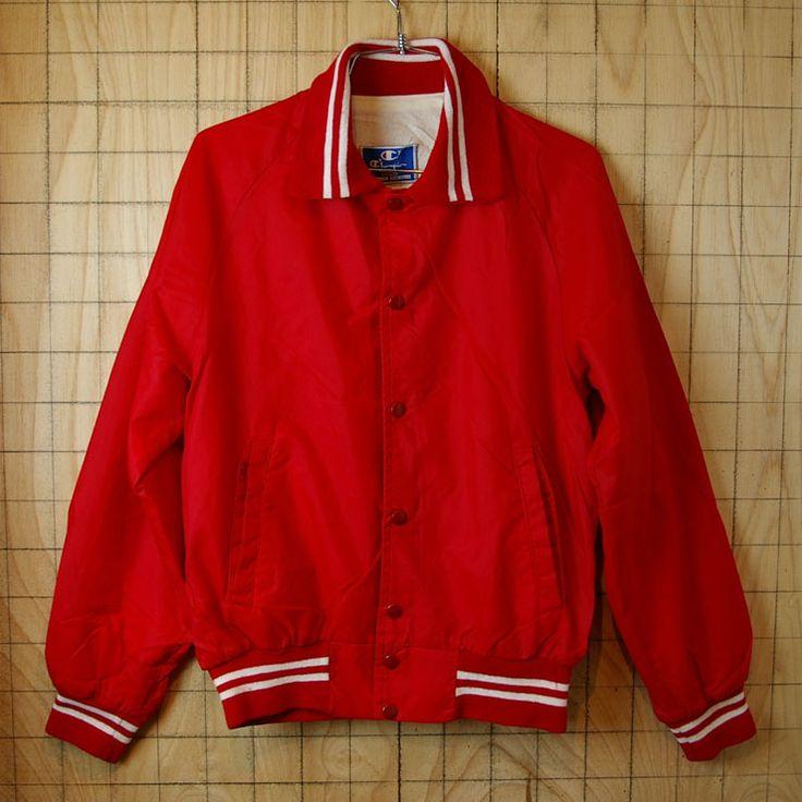 【Champion】USA製古着レッド(赤)MIAMIスナップボタンスタジャン・ナイロンジャケット|メンズSサイズ