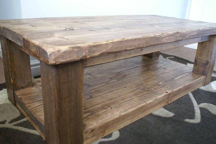 rustic pine coffee table with shelf sleeper plank beam solid wood