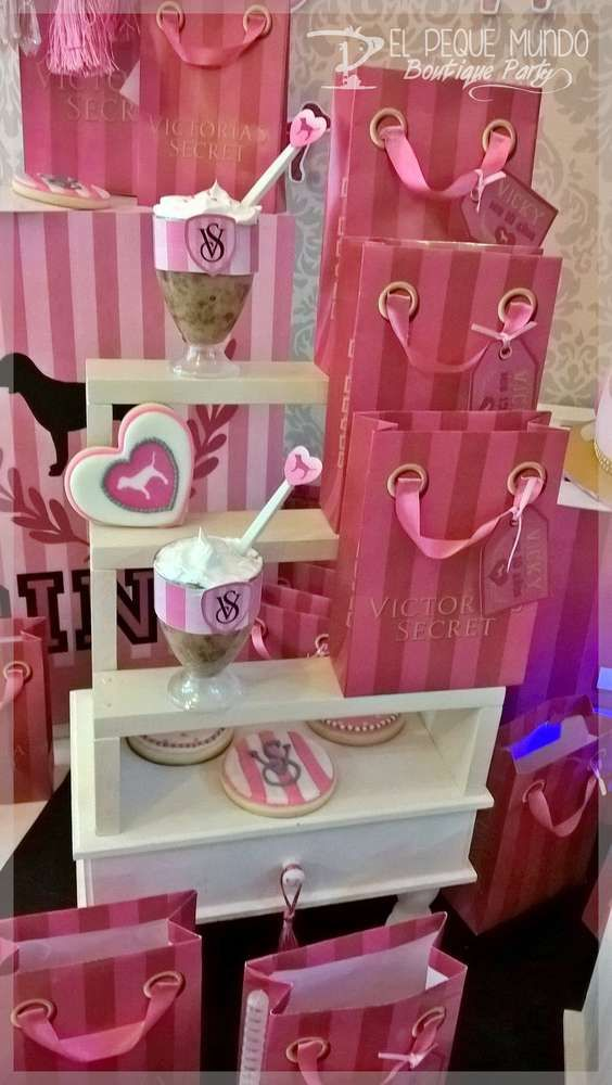 Victoria's Secret pink birthday party! See more party ideas at CatchMyParty.com!