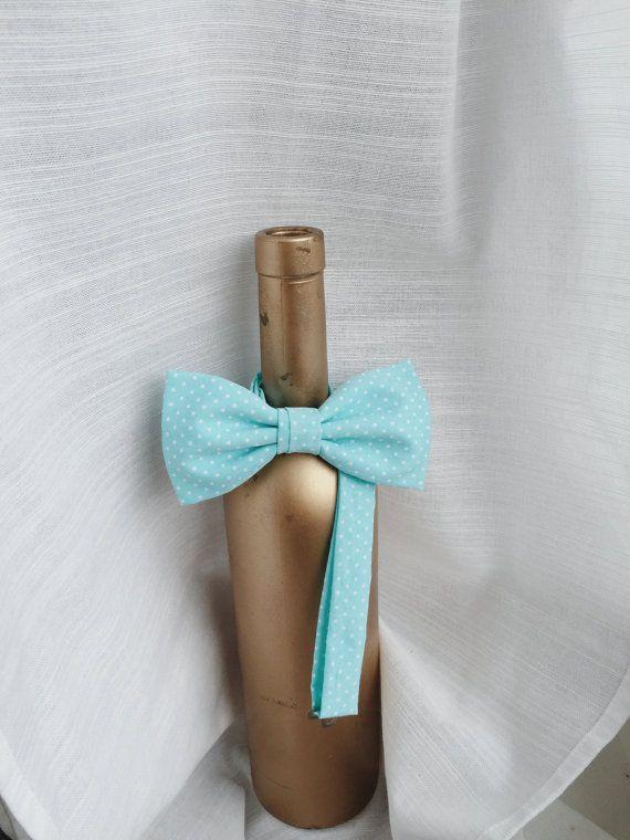 Cyan Blue Polka Dot Bow tie  Men's bow tie  Boy's by everDapper
