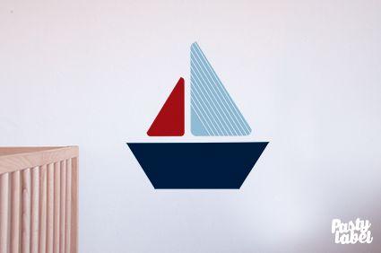 Muursticker jongenskamer Zee - Zeilboot wanddecoratie