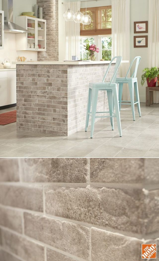 The bricks you see here are actually glazed porcelain tiles. You can add the classic look of brick to your kitchen affordably and with the easy care of tile. The brick-look tiles have a matte finish that\\\'s smooth to the touch. It\\\'s great for flooring and backsplashes, too.Source by ...
