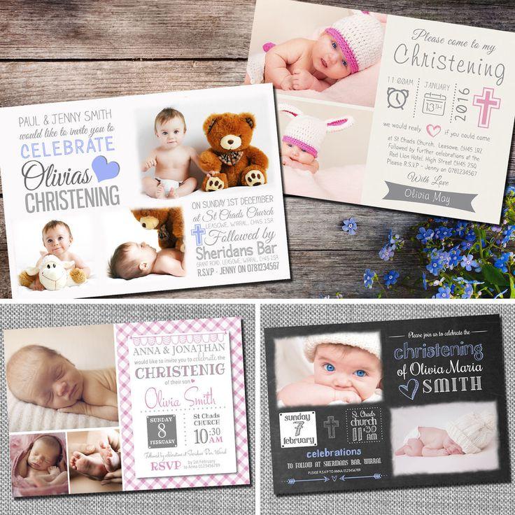 Personalised Photo Boy / Girl CHRISTENING / Baptism / Naming Day Invitations C03 | eBay