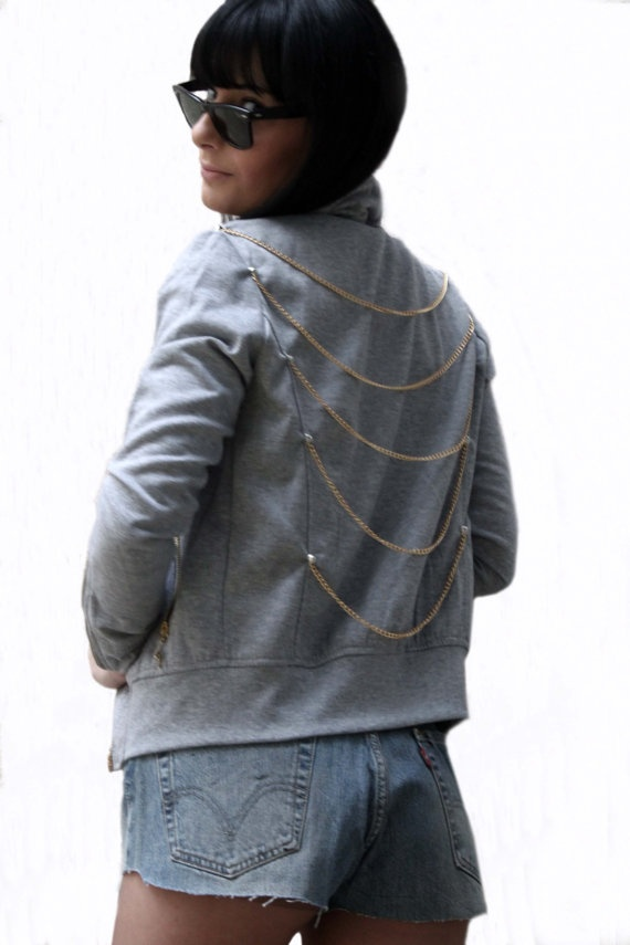 Cotton Jacket  Chains  & Studs styling by FinGerMadeLaB on Etsy, €50.00
