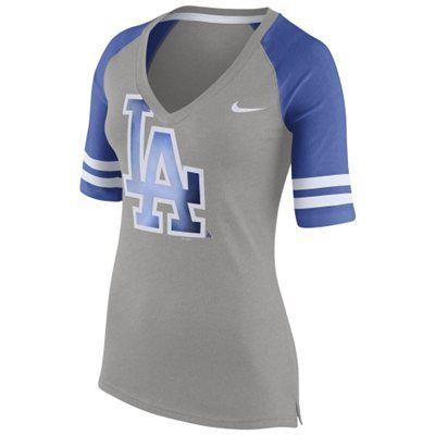L.A. Dodgers Nike Women's Logo Fan 1.4 V-Neck T-Shirt - Gray