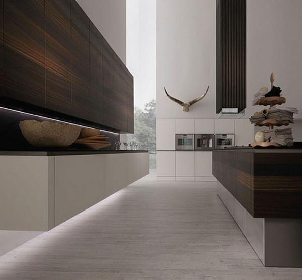 Minimalist kitchen in oak wood, model Neos