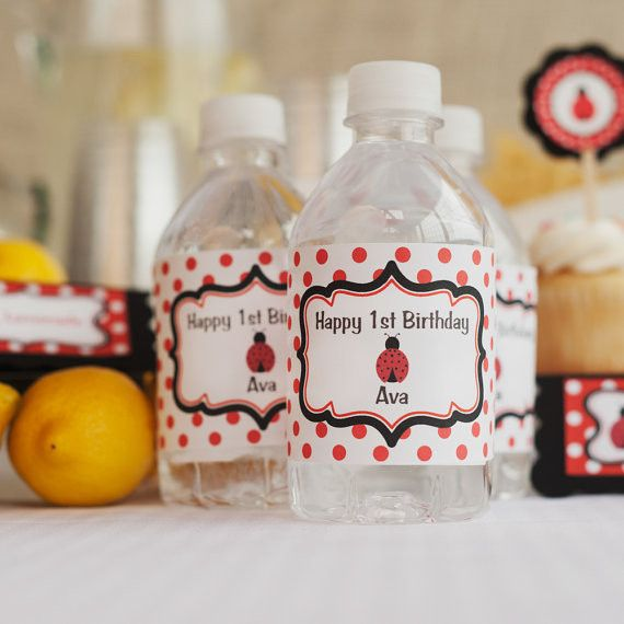 Ladybug Water Bottle Labels Birthday Party - Red & Black