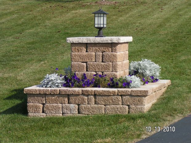 Driveway Entry Pillars : Building a mailbox with concrete blocks woodworking
