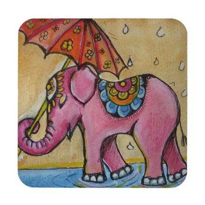Beautiful Pink indian elephant illustration Coaster - home decor design art diy cyo custom