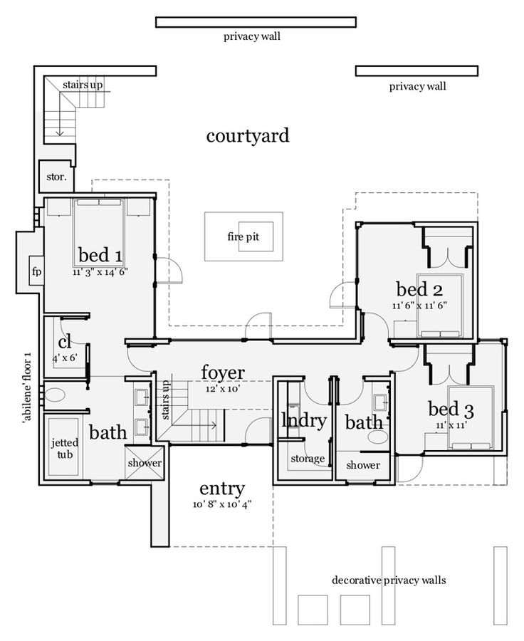 first floor plan of contemporary modern house plan 67595