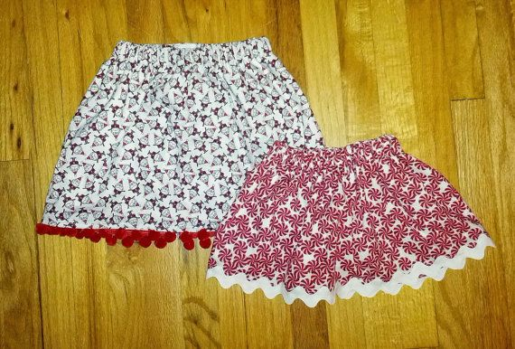 Christmas holiday girls skirt with trim by TreeTownBoutique