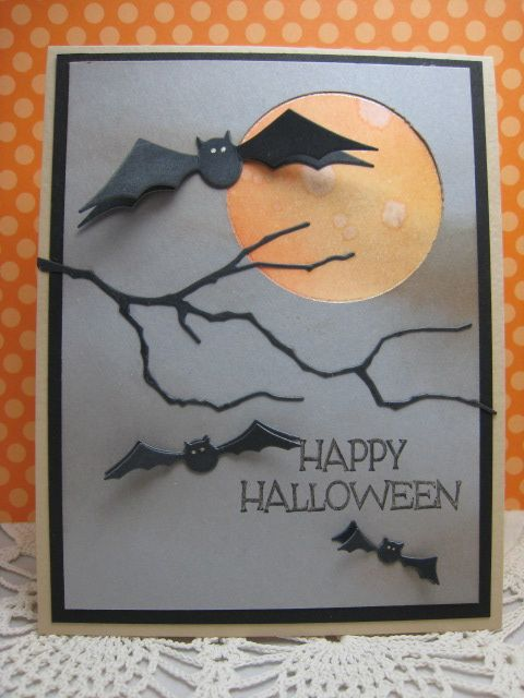 handmade card:Happy Halloween by bettijo (Betty) ..gray card base ... die cut bats and leafless branch in black ... luv the watercolor moon inside the negative circle ...