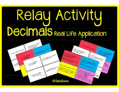 Decimals Real Life Application Relay Whole Class Activity from EduGuru from EduGuru on TeachersNotebook.com (14 pages)  - If you would like your students to understand the value of why they learn decimal numbers and how it relates to real life, then this is the perfect resource for you!
