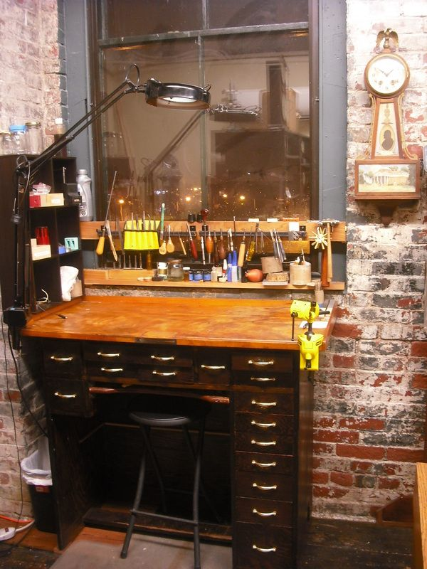 A view of my clock repair workbench - Dug North - Antique ...