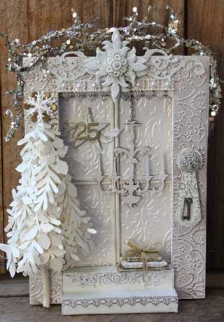 Christmas vignette.  Use a small wooden frame.  Paint white, or decoupage with scrap booking paper.  Add misc items to make it your own.