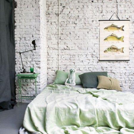 dekbed groen bed industrieel