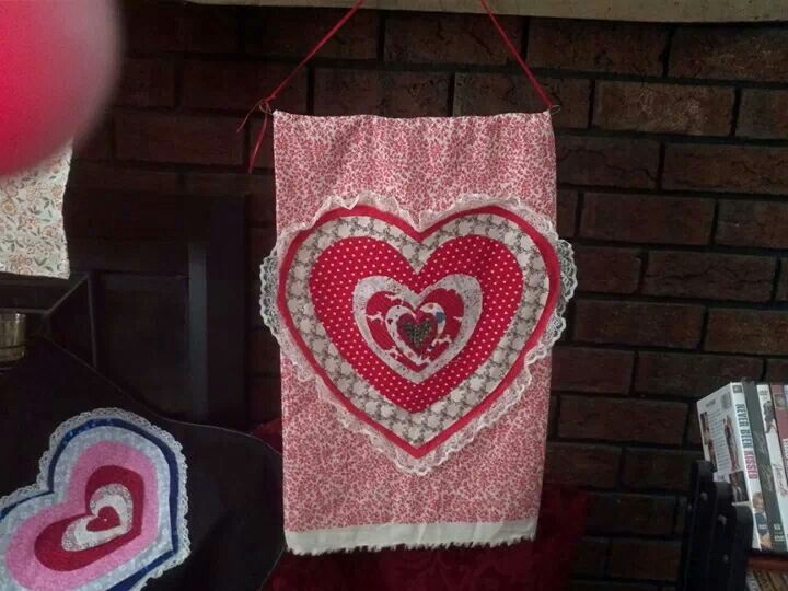 Valentine banner, cloth and hot glue gun