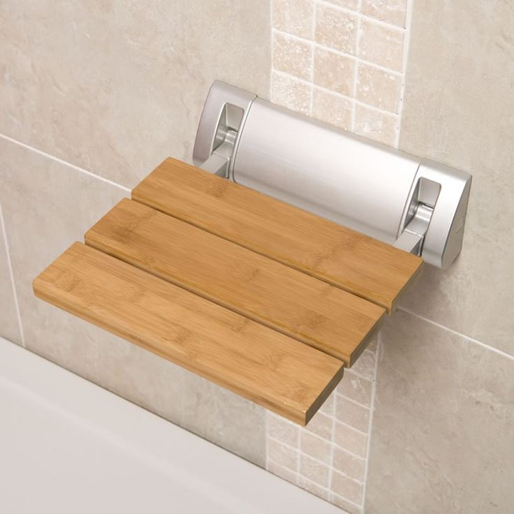Bamboo Folding Shower Seat Wide Base, 12.2 inches wide by 14 inches deep, $150