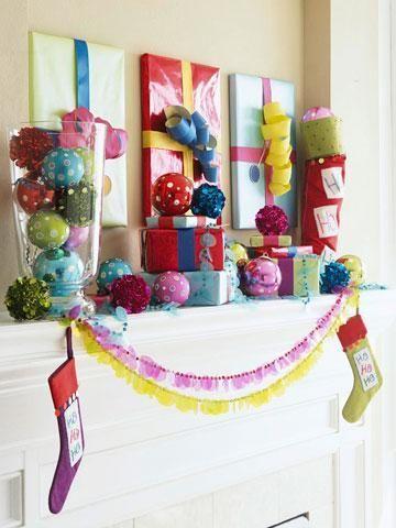 30 Gorgeous Holiday Mantel Decorating Ideas | Midwest LivingCanvas, Colors Christmas, Christmas Decor, Holiday Decor, Christmas Ideas, Bright Colors, Wraps, Christmas Mantles, Christmas Mantels