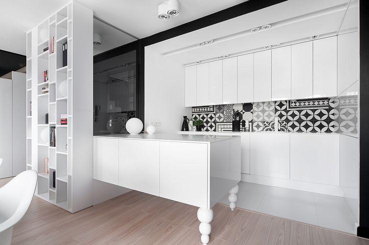 foorni.pl   M68 MIESZKANIE W SOSNOWCU, biała kuchnia z półwyspem, projekt: widawscy.pl