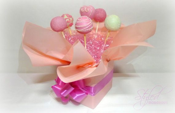 HEART GLAMOUR Cake Pops Arrangement  Bouquet  Gift Box 6 set
