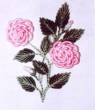 Old Fashioned Rose in BE • the leaves look awesome done in bullion knots.
