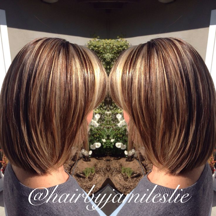 A gorgeous pearly blonde highlight with beautiful mahogany lowlight on an adorable layered shoulder length bob. Hair by Jami Leslie. Tiger Tail Salon- Carlsbad CA