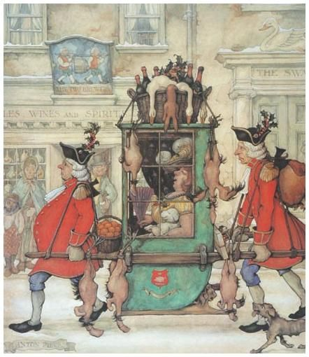 Geese on sedan chair, by Anton Piek (Dutch artist)