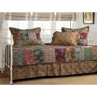 the cotton antique chic daybed bedding set includes a daybed cover a bedskirt with drop and three standard shams daybed cover has vermicelli