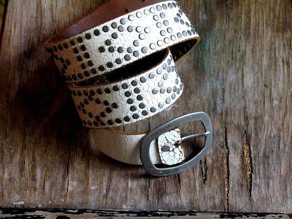SALE Shabby chic belt. Vintage Rustic Leather Belt by artwardrobe, $20.00