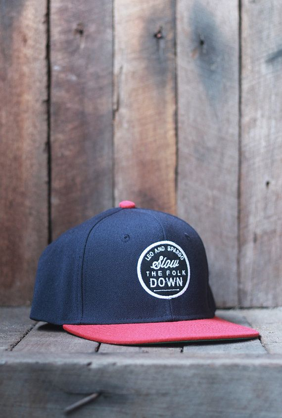 Snap back baseball cap // wool/acrylic hat with by leoandspargo / typography