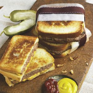 Katie Lee's Logan County Burgers - part hamburger, part grilled cheese - an excellent patty melt