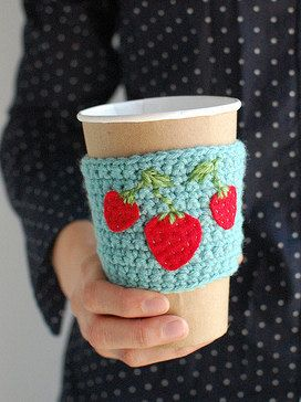 """coffee cozies. This one made by""""The cozy project"""""""