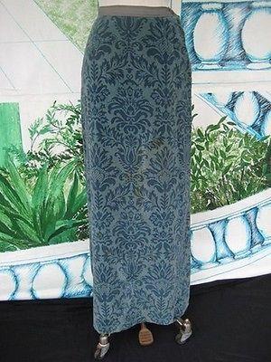 60s Vtg Jacquard Bill Atkinson maxi Velour Skirt Shades of Steel Blue   | eBay
