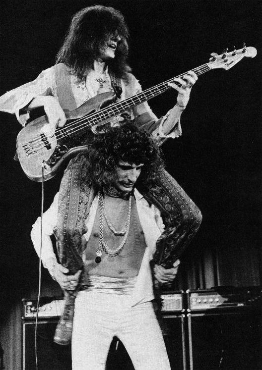 Uriah Heep's David Byron and Gary Thain in acion 1973