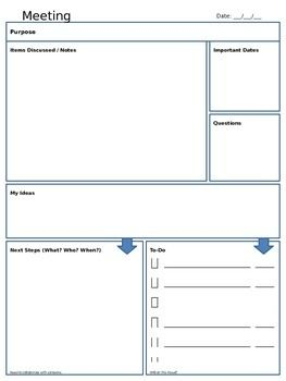 Meeting Notes Template - FREE Used by teachers and administrators. Can be used by any working professional.