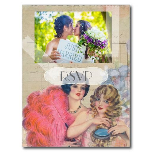 Vintage French Gay Lesbian Wedding RSVP with Photo Postcard