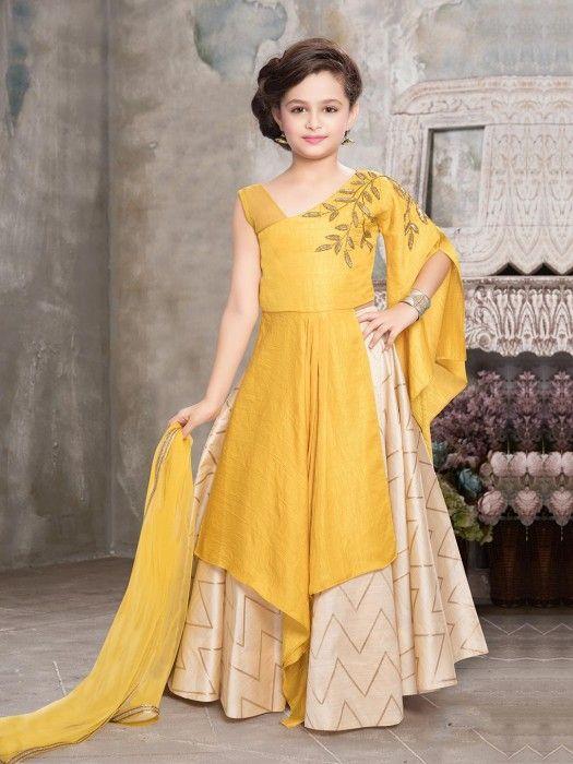 6ea36ee22 Yellow Hue Indo Western Style Lehenga Choli | dresses in 2019 | Kids  lehenga, Kids lehenga choli, Kids frocks design