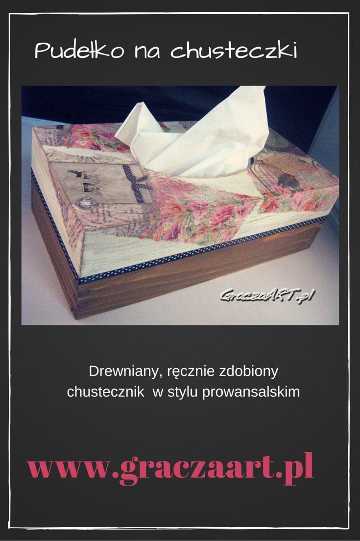 Ręcznie zdobione pudełko na chusteczki higieniczne