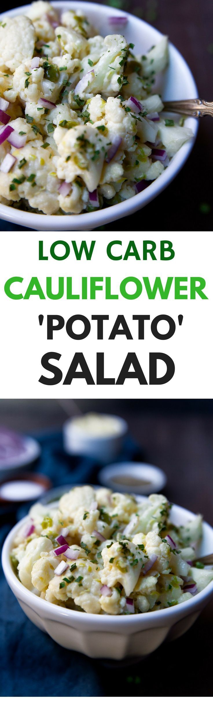 Low Carb Cauliflower Potato Salad. Serve up this healthy salad sans the potato. Traditional potato salad flavors but super lower carb with cauliflower instead. Healthy cauliflower salad recipe. Paleo cauliflower salad - quick and easy!