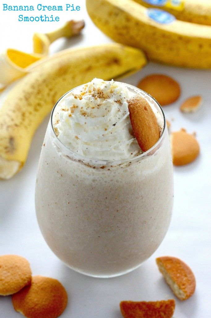 Healthy Banana Cream Pie Smoothie is a great way to start the morning, or it could even be a healthy dessert!